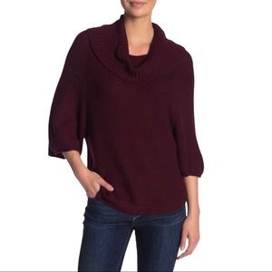 Splendid Cowl Neck Cable Knit 3/4 Sleeve Sweater